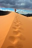 Footprints in the Sand. Hiker walking up Sand Dune in Coral Pink Sand Dunes SP Stock Images