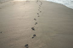 Footprints in the sand. S at the ocean Royalty Free Stock Photography
