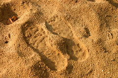 Footprints in sand.  Royalty Free Stock Image