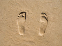 Footprints on sand Stock Photo