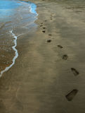Footprints in the Sand. Footprints on a beach Royalty Free Stock Images