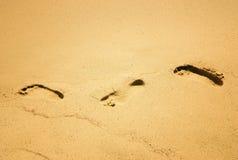 Footprints. On the sand Stock Photo
