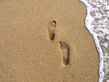 Footprints on a sand Royalty Free Stock Photography