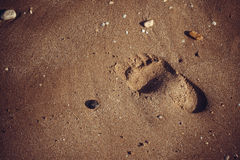 Footprints in the sand. Beach, footprints in the sand Royalty Free Stock Photo
