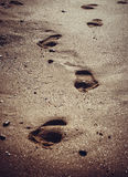 Footprints in the sand. Beach, footprints in the sand Royalty Free Stock Images