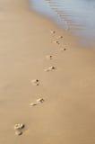 Footprints on the sand beach Stock Photos