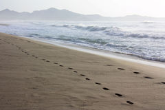 Footprints in the sand on the beach Costa Rei in Sardinia Stock Photos