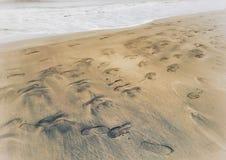 The footprints on the sand on the beach Stock Photos