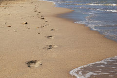 The footprints on the sand beach near to sea. Royalty Free Stock Image