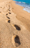 Footprints on sand beach. Travel, vacation concept Stock Photo