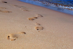 Footprints in the sand. Footprints in the beach sand during vacation Royalty Free Stock Photos