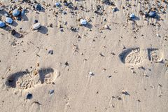 Footprints in the sand. Beach walk background image. Walking along the coast Stock Photography