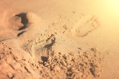 Footprints in the sand on the beach. Wet sand, blur, depth of field, solar tinting. Footprints in the sand on the beach Stock Photos