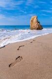 Footprints in the sand. Footprints at the beautiful sand beach. Malibu, California, USA Stock Photo