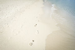 Footprints in sand boracay beach philippines Royalty Free Stock Images