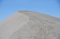Footprints on the Sand Dune. Footprints Moving Upward on the Sand Dune Royalty Free Stock Images