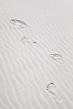 Footprints on the Sand Dunes Stock Photo