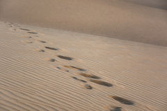 Footprints on sand dunes, different textures, Maspalomas, Gran Canaria, Spain Royalty Free Stock Photos