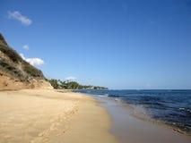 Footprints in the sand on empty Diamond Head Beach Stock Photo