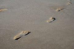 Footprints in the sand, Folkestone Stock Image