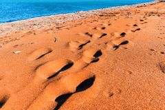Footprints on sand Royalty Free Stock Images