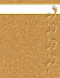 Footprints in the Sand Illustration. Footprints in sand with white banner for text royalty free illustration