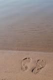 Footprints In Sand Lake Michigan Beach Shore Stock Image
