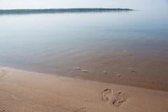 Footprints In Sand Lake Michigan Beach Shore Horizontal Stock Images