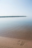 Footprints In Sand Lake Michigan Beach Shore Vertical Royalty Free Stock Photo