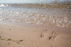 Footprints In Sand Lake Michigan Beach Shore Stock Images