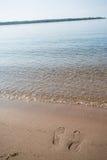 Footprints In Sand Lake Michigan Beach Vertical Stock Image