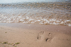 Footprints In Sand Lake Michigan Beach Stock Photos