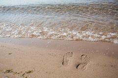 Footprints In Sand Lake Michigan Beach Stock Photos