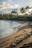 Footprints in the sand on Napili Bay at dawn Royalty Free Stock Photo