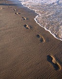 Footprints in Sand - Ocean Beach Royalty Free Stock Image
