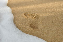 Footprints in the sand on the samui beach. Footprints in the sand on the beach Stock Photos