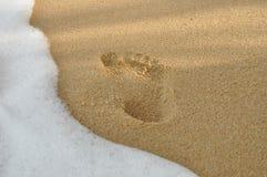 Footprints in the sand on the samui beach Stock Photos