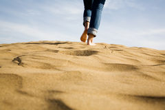 Footprints on sand. Selective focus Royalty Free Stock Photos