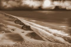 Footprints in the sand Sepia vector illustration