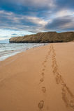 Footprints in the sand, Strathy Bay Stock Image