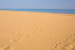 Footprints in the sand at sunset. Beautiful sandy tropical beach with sea waves. Footsteps on the shore. Stock Photo