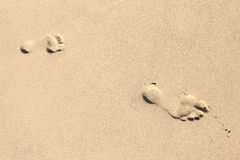 Footprints at the sandy beach Royalty Free Stock Photos