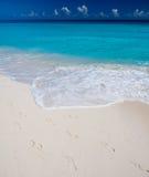 Footprints on sandy beach Stock Images