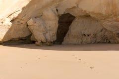 Footprints on the sandy beach Royalty Free Stock Photo