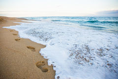 Footprints on sandy beach and sea wave Royalty Free Stock Image