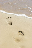 Footprints on the sant. Royalty Free Stock Photography