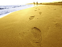Footprints on scenic beach Royalty Free Stock Images