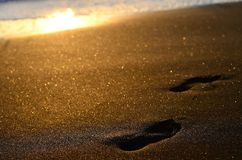 Footprints seand. Photo taken at sunset on the seashore to the footprints left by a passerby Royalty Free Stock Photo