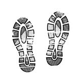 Footprints and shoeprints icon in black and white showing bare feet and the imprint of the soles with patterns of male. And female footwear. Shoes boots imprint Royalty Free Stock Image