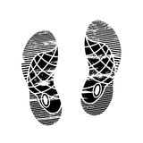 Footprints and shoeprints icon in black and white showing bare feet and the imprint of the soles with patterns of male. And female footwear. Shoes boots imprint Stock Images